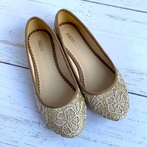 Oasis Sparkly Gold Ballet Flats